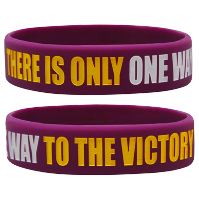 WRISTBAND PURPLE opaska sportowa THERE IS ONLY ONE WAY TO THE VICTORY