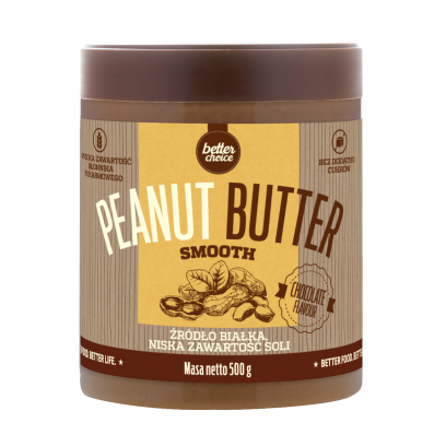 PEANUT BUTTER SMOOTH -PET- 500G - CHOCOLATE Czekoladowy