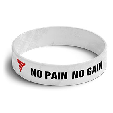 WRISTBAND 001 opaska sportowa - NO PAIN NO GAIN - WHITE
