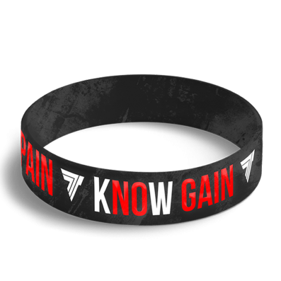 WRISTBAND 048 opaska sportowa - KNOW PAIN KNOW GAIN - BLACK