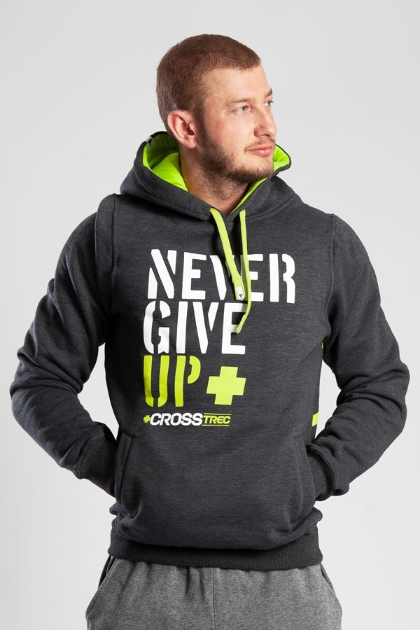 HOODIE 033 - NEVER GIVE UP - GRAPHITE