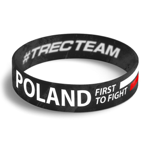 WRISTBAND 067 opaska sportowa - POLAND FIRST TO FIGHT - BLACK