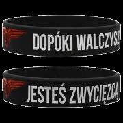 """WRISTBAND BLACK """"DOPÓKI WALCZYSZ JESTEŚ ZWYCIĘZCĄ"""""""